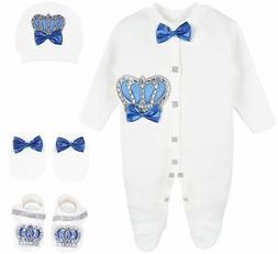Lilax Baby Boy Newborn Crown Jewels Layette 4 Piece Gift Set