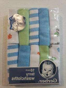 Gerber Baby Boys 10 Pack Terry Washcloths NEW Adorable Bears