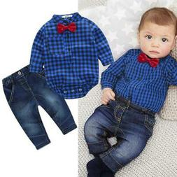 baby boys clothing set plaid rompers with bowtie + demin pan