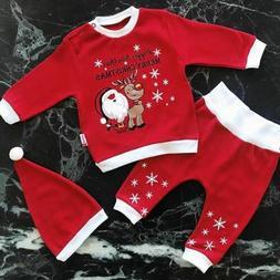 Baby Boys Girls Christmas Outfits Set Romper Bodysuit Pant L