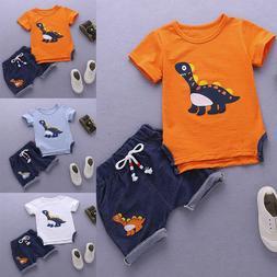 Baby Boys Kids Summer Short Sleeve Dinosaur Tracksuit Sport
