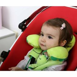 Baby Car Seat Head Support with Seat Belt Strap Cover Green