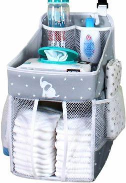 Baby Crib Diaper Caddy - Hanging Diaper Organizer - Storage
