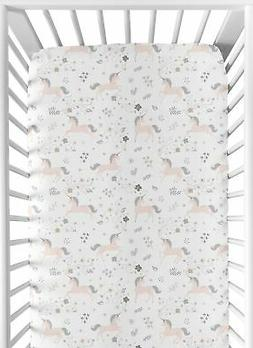 Sweet Jojo Baby Crib or Toddler Fitted Sheet for Pink Grey U