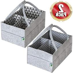 Cartik Baby Diaper Caddy Organizer Set of 2 – Nursery Bask