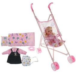 Baby Doll with Stroller Pushchair & Accessories Set Model Ki