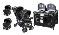 Baby Trend Double Stroller with 2 Car Seat Twin Playard Trav