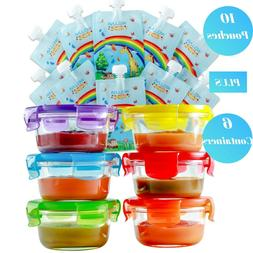 Baby Food Storage Container Glass Jars  & Food Pouches  Gift