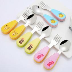 Baby fork and spoon toddler utensils feeding training child