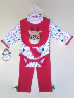 BABY GEAR GIRLS 4PC MY 1ST CHRISTMAS BODYSUIT & LEGGING SET