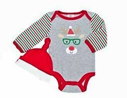 "Baby Gear Unisex Baby ""my 1st Christmas"" Bodysuit Cap Set Re"