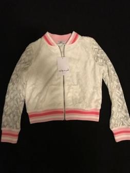 BABY GIRL  LOVE, FIRE  GEO LACE BOMBER WHITE/PINK SIZE -M  N