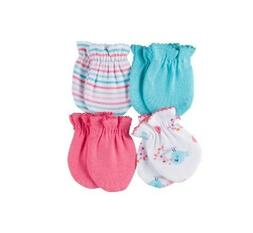 GERBER BABY GIRL 4-Pack Mittens Coral Aqua Birds Size 0-3M;