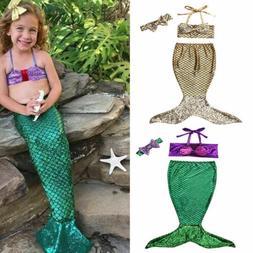 Baby Girl Princess Mermaid Sequins Halter Swimsuit Bow Costu