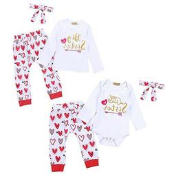 Baby Girls Sister Matching Big/Little Love Romper Pants Vale