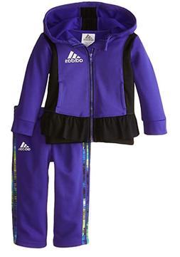 adidas Baby Girls' Tricot Zip Jacket and Pant Set, Purple Ni