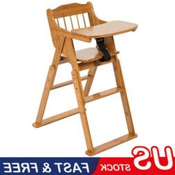 Baby High Chair Bamboo Stool Infant Feeding Children Toddler