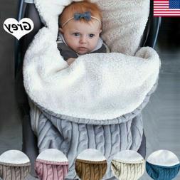 Baby Hooded Swaddle Knit Wrap Blanket Warm Pram Pushchair St