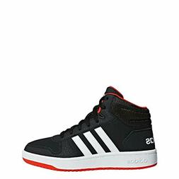 adidas Baby Hoops 2.0 Basketball Shoe, Black/White/red, 9K M