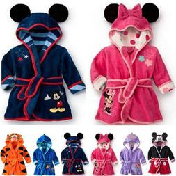 Baby Kids Boys Girls Pajamas Hooded Bath Robe Sleepwear Dres