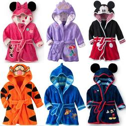 Baby Kids Boys Girls Winter Warmer Hooded Bath Robe Cartoon