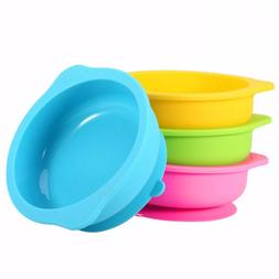 3 Color Baby Feeding Bowl Silicone Infant Suction Base Toddl