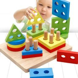 Baby Kids IQ Educational Toys Wood Geometric Building Blocks