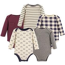 Hudson Baby Baby Long Sleeve Bodysuits, Football 5-Pack, 6-9