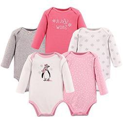 Hudson Baby Baby Long Sleeve Bodysuits, Girl Penguin 5-Pack,