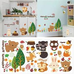 Baby Mural Nursery Jungle Wall Stickers Cartoon Animal Home