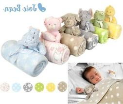 Baby Newborn Cute Soft Fleece Blanket Set with Plush Teddy B