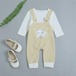 Baby Novelty Bib Strap Girls Outfits Clothes Tops T Shirt +