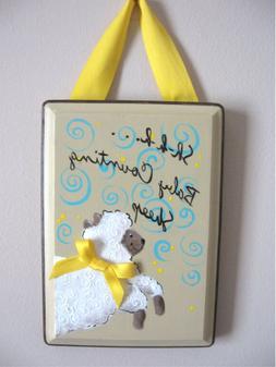 Baby Nursery Decor-Sheep Door Hanger Wood Hand Painted Unise