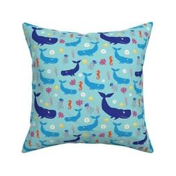 Baby Nursery Whales Jellyfish Throw Pillow Cover w Optional