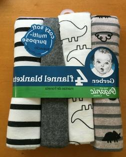 Gerber Baby Organic Cotton 4-Pack Flannel Blankets Dinosaur