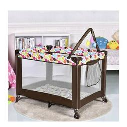 Baby Playard, Foldable Travel Bassinet Bed with Whirling Toy