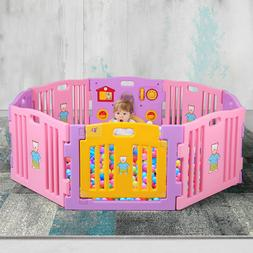 Baby Playpen 8 Panel Kids Safety Play Center Yard Home Indoo