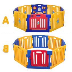 Baby Playpen Kids 8 Panel Safety Play Center Yard Home Indoo