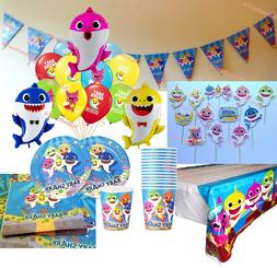 BABY SHARK PARTY DECORATIONS ~ Balloons Plates Cups Napkins