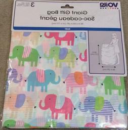 """Baby Shower Gift Bag Jumbo Plastic 36"""" X 44"""" 2 Options - Ele"""