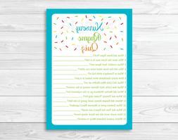Baby Sprinkle Rainbow Blue Baby Shower Nursery Rhyme Quiz Ga