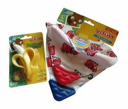 Baby Teething Bibs + Baby Teether Teething Banana Toy Nuby N