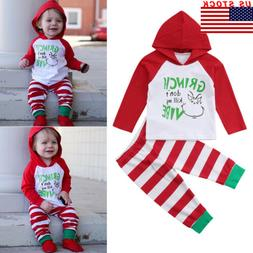 Baby Toddler Boy Girl Xmas Hooded Tops Stripe Pants Leggings