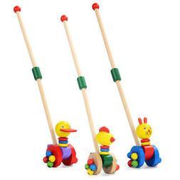 Baby Wooden Cartoon Toys Developmental Step Cart Duck Animal