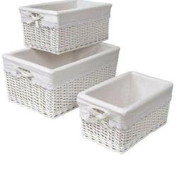 Badger Nursery Wicker Baskets with White Liners.  Set of 3