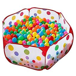 Kuuqa Kids Ball Pit Ball Tent Toddler Ball Pit with Red Zipp