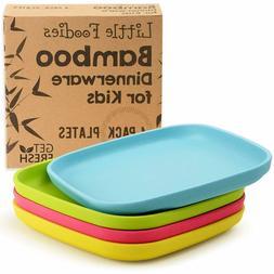 Bamboo Kids Plates, 4 Pack Set, Stackable Bamboo Dinnerware