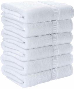 """6 Bath Towels Cotton White 24x48"""" Pool Gym Towels Wholesale"""