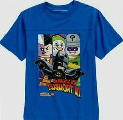 Lego Batman The Movie BLUE Child Boys t-shirt Size 8 M 10-12