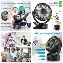 Battery Operated Clip on Fan, Portable Baby Stroller Fan wit